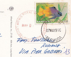 A Fish 45c 1990 Post Mark Paquebot, Stamp Of Bahamas On Postcard - Bahamas (1973-...)