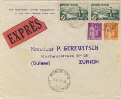 """FRANCE 1936 LSC 2nd échelon Par """"EXPRÈS"""" De PARIS 108 Pour Zürich - Affrt 5fr50 (Yv.281, 286 & 2xYv.301) - 1921-1960: Periodo Moderno"""