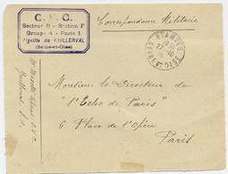 DEVANT LETTRE FM ETAMPES 27.10.1915 + CARRE VIOLET G.V.C SECTEUR B SECTION F AIGUILLE DE GUILLERVAL - WW I