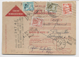 GANDON 12FR ORANGE SEUL CARTE CONTRE REMBOURSEMENT OUZONVILLE ARDENNES POUR BAZEILLES TAXE 20FR+3FR+2FR - 1945-54 Marianne (Gandon)