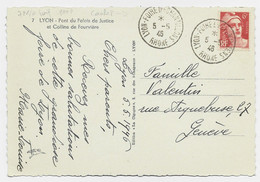GANDON 6FR ORANGE SEUL CARTE CACHET TEMPORAIRE LYON FOIRE D'ECHANTILLONS 5.5.1946 RHONE POUR SUISSE AU TARIF - 1945-54 Marianne (Gandon)