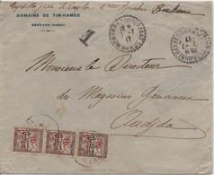 Lettre Non Affranchie 1917 SI-MOHAMED OU BERKANE MAROC Taxe à OUDJDA Bande Du 10c BANDEROLE DUVAL Surcharge Protectorat - Storia Postale