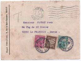 Carte Postale (fatiguée) Non Affranchie PARIS 1944 Taxe Belle Composition Mixte BANDEROLE DUVAL & GERBES - 1859-1955 Storia Postale