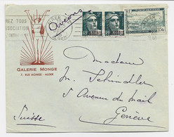 GANDON ALGERIE 2FRX2 + PA 15FR LETTRE AVION ALGER RP 178 JUIL 1946 POUR SUISSE - 1945-54 Marianna Di Gandon