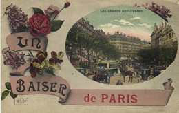Fantaisie UN BAISER De PARIS  Les Grands Boulevards Colorisée Recto Verso - Arrondissement: 09