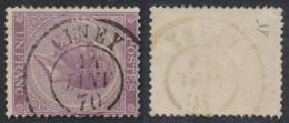 """émission 1865 - N°21A (D15) Obl Double Cercle """"Ciney"""" (1870). Tardive, TB ! /  Collection Spécialisée. - 1865-1866 Profiel Links"""