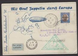 Carte Postale Officielle Par Zeppelin Luftschif Islandfahrt 1931 LZ 127 Retour Avec1Kr D'ISLANDE PA 10 > NANCY - Airmail