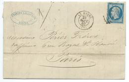 N° 14 BLEU NAPOLEON SUR LETTRE / LE HAVRE POUR PARIS / 23 SEPT 1862 - 1849-1876: Klassik