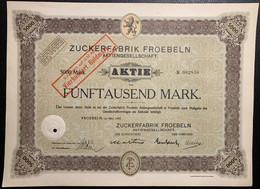AKTIE Nr.002858 Zuckerfabrik Froebeln Aktiengesellschaft über 5000 Mark / 400 GM Groebeln, Im März 1923 - W - Z