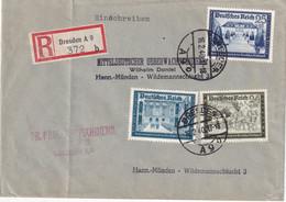 ALLEMAGNE 1940 LETTRE RECOMMANDEE DE DRESDEN AVEC CACHET ARRIVEE MÜNDEN - Briefe U. Dokumente