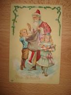 """CPA EMBOSSEE PERE NOEL DISTRIBUANT DES JOUETS AUX ENFANTS """"VIVE ST NICOLAS"""" - Santa Claus"""