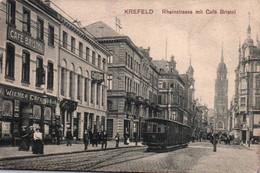 KREFELD / RHEINSTRASSE MIT CAFE BRISTOL / TRAMWAY / TRES BELLE CARTE - Krefeld
