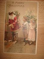 CPA PAILLETTES EN RELIEF PERE NOEL SE RECHAUFFANT LES MAINS A LA CHEMINEE, ENFANTS - Santa Claus
