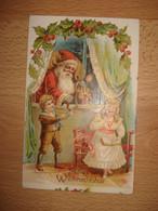 CPA PERE NOEL A LA FENETRE APPORTANT DES JOUETS AUX ENFANTS - Santa Claus