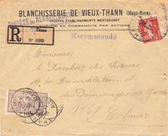 10c Semeuse Et 50c Merson LR Blanchisserie De Vieux-Thann Thann Alsace 12/10/1920 Pr Colmar étiquette Francisée Noire - Elsass-Lothringen