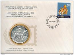 Sri Lanka. Medaille En Argent 1er Titre Et Enveloppe .arts Et Traditions. Diam 40mm - Otros