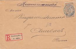 50c Merson Seul Sur LR Strasbourg 4 Obl Bleue Du 28/7/1920 Pour Auerbach En Hesse (Allemagne) étiq Encore Allemande - Elsass-Lothringen