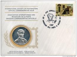 Italie. Enveloppe Avec Medaille En Argent 1er Titre Et Timbre.  Silvestro Lega - Otros