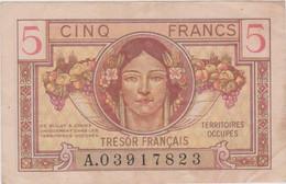 FRANCE - 1 BILLET De CINQ FRANCS - Trésor Français Territoires Occupés - N° A.03917823 - 1917-1919 Army Treasury