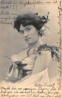 YOUNG WOMAN-PEARLS-FLOWER IN HAIR~1904 BIRSFELDEN SWITZERLAND PSTMK PHOTO POSTCARD 50812 - Fashion