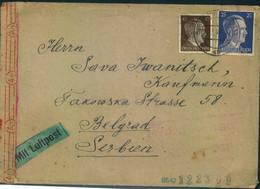 1944, Luftpost-Auslandsbrief Ab SCHWERIN Nach Serbien. - Cartas