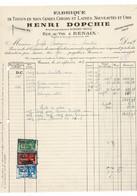 VP FACTURE BELGIQUE 1938 (V2030) Fabrique De Tissus HENRI DOPCHIE (1 Vue) Rue Au Vin, à RENAIX RONSE - Kleding & Textiel