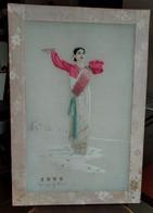 RARE EMBRIDERY PANEL Korea, North TRADITONAL ART PYONGYANG VTG TAPESTRTY GOBELIN OLD VINTAGE - Rugs, Carpets & Tapestry