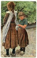 ARTIST : KALLMORGEN - GERMAN PEASANT CHILDREN, SISTERS (TUCK'S OILETTE) - Altre Illustrazioni