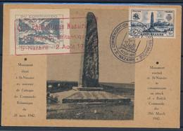 DX-130: FRANCE: Lot Avec Carte Postale Commémorative Du Commando Anglais à St Nazaire (avec Vignette) - Vignettes Militaires