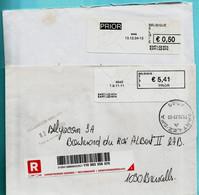 2 BLASTERS, 4845 SART-LEZ-SPA 13/12/2004 + 01/09/2011 Op Aangetekende Zending (1/2) - Postage Labels