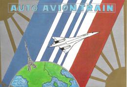 CP  Concorde  -  Auto  Avion  Train.  Tirage Limité 425 Exemplaires. Carte N° 039.  Edit Naviliat - Zonder Classificatie