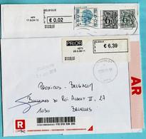 2 BLASTERS, 4970 MALMEDY 17/08/2004 + 28/05/2009 Op Aangetekende Zending (1/2) - Postage Labels