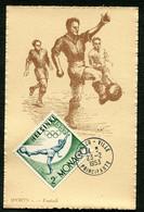 MONACO - CARTE MAXIMUM 1953 - SPORT - FOOTBALL - Timbre Jeux Olympiques D'été D'HELSINKI De 1952 - Cartoline Maximum