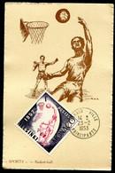 MONACO - CARTE MAXIMUM 1953 - SPORT - BASKET-BALL - Timbre Jeux Olympiques D'été D'HELSINKI De 1952 - Cartoline Maximum
