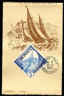 MONACO - CARTE MAXIMUM 1953 - SPORT - REGATES - Timbre Jeux Olympiques D'été D'HELSINKI De 1952 - Cartoline Maximum