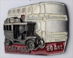 L154 Pin's Superbe Bus Car Autobus Tacot Double Moule 3 D 80 Ans Bustourism Chaumont Haute Marne Achat Immédiat - Trasporti