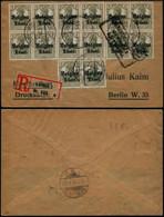 DEL022 - Lettre Occupation Recommandée De Liège à Berlin ( Allemagne Germany ) 1918 Bloc 8 + 4 + Paire - Altre Lettere