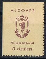 Sello Viñeta ALCOVER (Tarragona) 5 Cts Castaño Sobre Crema, Asistencia Social, Guerra Civil ** - Viñetas De La Guerra Civil