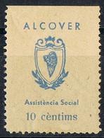 Sello Viñeta ALCOVER (Tarragona) 10 Cts Verde Sobre Crema, Asistencia Social, Guerra Civil * - Viñetas De La Guerra Civil