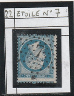 N° 22 - ETOILE DE PARIS N° 7 - BUREAU RUE DES VIEILLES HAUDRIERES  - REF 1416 + PIQUAGE - 1862 Napoleon III
