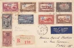LETTRE MAROC. 17 5 38. OEUVRES DE L'ENFANCE N° 153/160 + PA N° 41. RECOMMANDE RABAT POUR PARIS PAR AVION - Covers & Documents