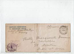 """CTN64- LETTRE EMANANT DE L' """"AMERICAN COMMISSION TO NEGOCIATE PEACE"""" 15/2/1919 CENSURE - Guerre Mondiale (Première)"""