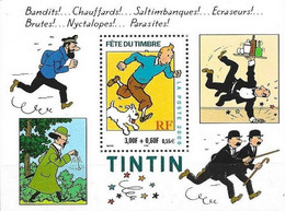 France 2000, 70th Anniversary Of The Cartoon Tintin, MNH S/S - Unused Stamps