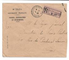 CACHET TRESOR ET POSTES 510 INDICE LIME ( ANCIEN BUREAU DES A.F.O. TRANSFERE A CONSTANTINOPLE EN 1919)- LSC RECOMMANDEE - WW I