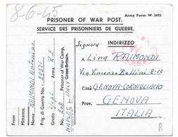 PRIGIONIERI DI GUERRA - DA WAR CAMP DI NAPOLI A GENOVA - 30.4.1945 . CONTROLLATA DALLA CENSURA. - Anglo-Amerik. Bez.: Naples