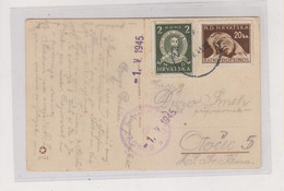 CROATIA WW II  26.IV 1945 ZAGREB Nice Postcard Censored - Croatia