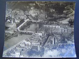 GRANDE PHOTOGRAPHIE AERIENNE Ancienne 1919 : EGLISE SAINT PAUL - PONTS SUR L' ILL / STRASBOURG / ALSACE / BAS RHIN - 67 - Places