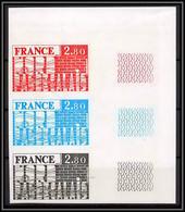 France N°1852 Région Nord - Pas-de-Calais 1975 Bande De 3 Essai (trial Color Proof) Non Dentelé Imperf ** MNH - Proefdrukken