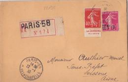 22195# SEMEUSE N° 194 BANDE PUBLICITAIRE CARNET LE SECOURS ACCIDENT LETTRE RECOMMANDE Obl PARIS 1930 SOISSONS AISNE - 1921-1960: Periodo Moderno