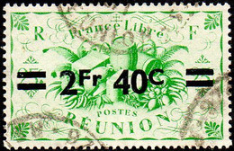 Réunion Obl. N° 256 - Détail De La Série De Londres Surchargé En 1945 - Productions - 2f40 Sur 25c Vert - Oblitérés
